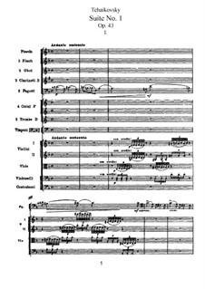 Suite Nr.1 in d-Moll, TH 31 Op.43: Vollpartitur by Pjotr Tschaikowski