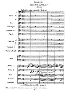 Suite Nr.3 in G-Dur, TH 33 Op.55: Vollpartitur by Pjotr Tschaikowski