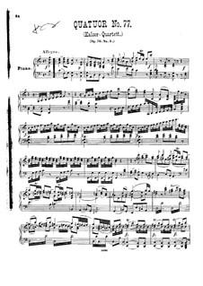 Streichquartett Nr.62 in C-Dur 'Kaiser', Hob.III/77 Op.76 No.3: Version für Klavier by Joseph Haydn