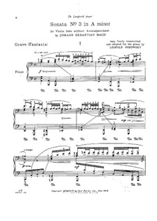 Sonate für Violine Nr.3 in a-Moll, BWV 1005: Bearbeitung für Klavier by Johann Sebastian Bach