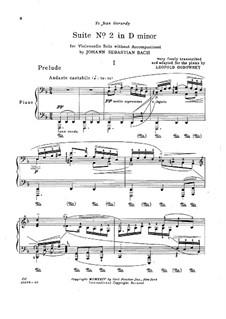 Suite für Cello Nr.1 in d-Moll, BWV 1008: Bearbeitung für Klavier by Johann Sebastian Bach