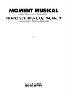 Sechs musikalische Momente, D.780 Op.94: Musikalischer Moment Nr.3. Version by Godowsky by Franz Schubert