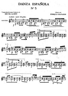 Zwölf Spanische Tänze: Tanz Nr.5, für Gitarre by Enrique Granados