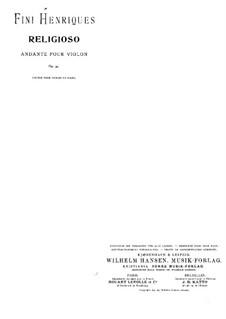 Religioso (Andante), for Violin and Piano, Op.34: Partitur by Fini Henriques