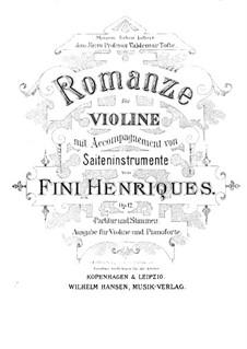 Romanze, für Violine und Klavier, Op.12: Solostimme by Fini Henriques