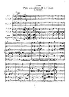 Konzert für Klavier und Orchester Nr.11 in F-Dur, K.413: Vollpartitur by Wolfgang Amadeus Mozart