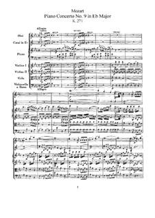 Konzert für Klavier und Orchester Nr.9 in Es-Dur 'Jeunehomme', K.271: Vollpartitur by Wolfgang Amadeus Mozart