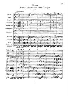 Konzert für Klavier und Orchester Nr.16 in D-Dur, K.451: Vollpartitur by Wolfgang Amadeus Mozart