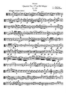 Streichquartett Nr.17 in B-Dur 'Jagdquartett' , K.458: Bratschenstimme by Wolfgang Amadeus Mozart