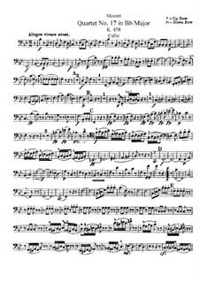 Streichquartett Nr.17 in B-Dur 'Jagdquartett' , K.458: Cellostimme by Wolfgang Amadeus Mozart