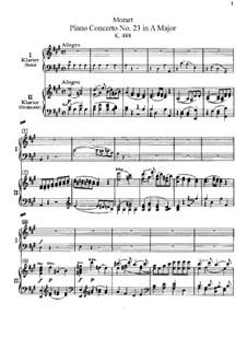 Konzert für Klavier und Orchester Nr.23 in A-Dur, K.488: Bearbeitung für zwei Klaviere, vierhändig by Wolfgang Amadeus Mozart