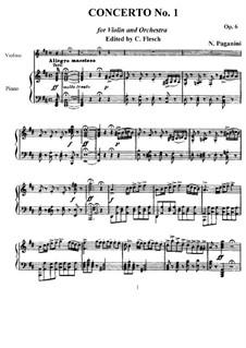 Konzert für Violine und Orchester Nr.1 in D-Dur, Op.6: Version für Violine und Klavier by Niccolò Paganini