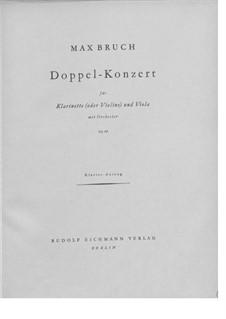 Doppelkonzert für Klarinette und Bratsche in e-Moll, Op.88: Vollpartitur by Max Bruch