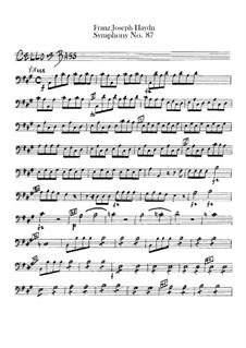 Sinfonie Nr.87 in A-Dur, Hob.I/87: Cello- und Kontrabass-Stimme by Joseph Haydn