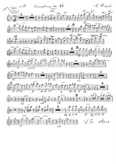 Sinfonie Nr.88 in G-Dur, Hob.I/88: Klarinettenstimme I (ad libitum) by Joseph Haydn