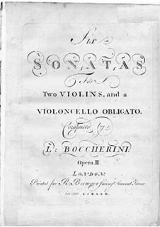 Sechs Sonaten für zwei Violinen und Cello, G.77-82 Op.2: Violinstimme I by Luigi Boccherini