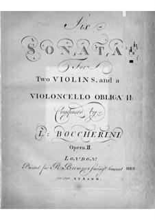 Sechs Sonaten für zwei Violinen und Cello, G.77-82 Op.2: Cellostimmen by Luigi Boccherini