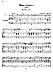 Mazurkas, Op.33: Nr.2, für Violine und Klavier by Frédéric Chopin