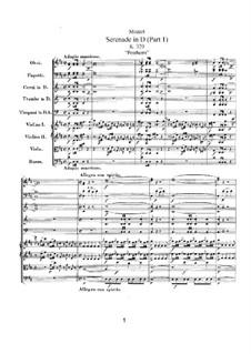Serenade für Orchester Nr.9 in D-Dur 'Posthorn', K.320: Teil I by Wolfgang Amadeus Mozart