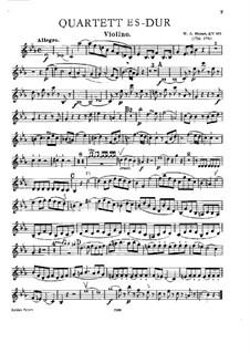 Quartett für Klavier und Streicher Nr.2 in Es-Dur, K.493: Vollpartitur, Stimmen by Wolfgang Amadeus Mozart