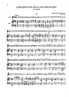 Konzert für Bratsche, Streicher und Basso Continuo in G-Dur, TWV 51:G9: Version für Bratsche und Klavier by Georg Philipp Telemann