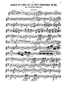 Sinfonie Nr.88 in G-Dur, Hob.I/88: Teile II, IV. Version für Klaviertrio – Violinstimme by Joseph Haydn