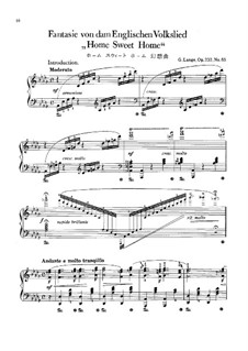 Fantasien über beliebte Volkslieder, Op.232: No.65 Home, Sweet Home by Gustav Lange