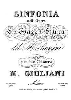 Die diebische Elster: Ouvertüre, für zwei Gitarren by Gioacchino Rossini