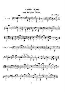 Variationen über ein Savoyarde Thema für Gitarre: Variationen über ein Savoyarde Thema für Gitarre by Mauro Giuliani