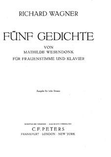 Wesendonck Lieder, WWV 91: Nr.1 Der Enge (Deutsche und englische Texte) by Richard Wagner