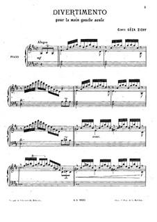 Divertimento für die linke Hand allein: Für Klavier by Géza Zichy