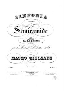 Semiramide: Ouvertüre, für Lyra (oder Gitarre) by Gioacchino Rossini