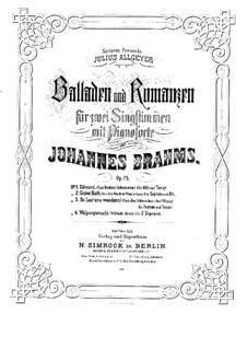 Vier Balladen und Romanzen, Op.75: Vollsammlung by Johannes Brahms
