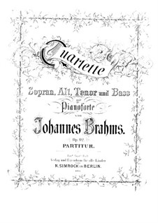 Vier Quartette für Stimmen und Klavier, Op.92: Vollsammlung by Johannes Brahms