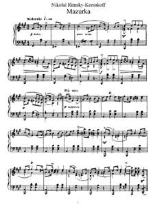 Zwei Stücke, Op.38: Nr.2 Mazurka by Nikolai Rimsky-Korsakov