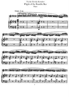 Das Märchen vom Zaren Saltan. Oper: Hummelflug, für Flöte und Klavier by Nikolai Rimsky-Korsakov