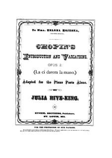 Variationen über Thema 'Là ci darem la mano' aus 'Don Giovanni' von Mozart, Op.2: Für Klavier by Frédéric Chopin