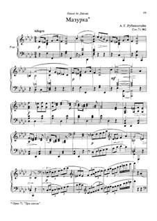 Drei Stücke, Op.71: Nr.2 Mazurka by Anton Rubinstein