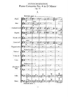 Konzert für Klavier und Orchester Nr.4 in d-Moll, Op.70: Partitur by Anton Rubinstein