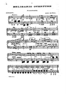 Belisario: Ouvertüre, für Klavier by Gaetano Donizetti