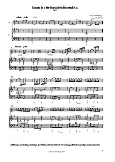Sonate in e für Barockvioline und Basso Continuo, Op.40: Sonate in e für Barockvioline und Basso Continuo by Klaus Miehling