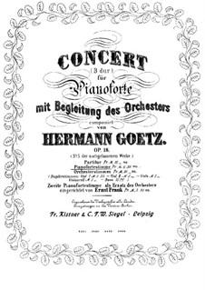 Konzert für Klavier und Orchester, Op.18: Teil I, für zwei Klaviere, vierhändig by Hermann Götz