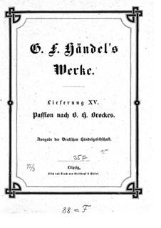 Brockes Passion, HWV 48: Vollpartitur by Georg Friedrich Händel