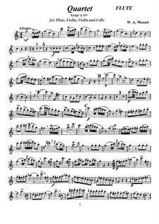 Quartett für Flöte und Streicher in C-Dur: Quartett für Flöte und Streicher in C-Dur by Wolfgang Amadeus Mozart