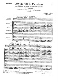 Violinkonzert Nr.4 in f-Moll 'Winter', RV 297: Teil I by Antonio Vivaldi