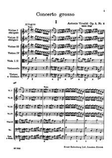 Konzert für zwei Violinen und Streicher Nr.8 in a-Moll, RV 522: Vollpartitur by Antonio Vivaldi
