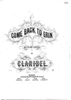 Come Back to Erin: Klavierauszug mit Singstimmen by Claribel