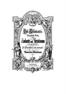 Andante und Variationen für zwei Klaviere, zwei Cellos und Waldhorn, Op.46: Version für Klavier by Robert Schumann
