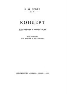 Konzert für Fagott und Orchester, J.127 Op.75: Version für Fagott und Klavier by Carl Maria von Weber