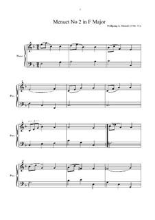 Menuett für Klavier in F-Dur, K.2: Noten von hohem Quaität by Wolfgang Amadeus Mozart